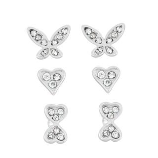 Isla Simone Silver Overlay Crystal Butterfly, Heart, and Bow Earrings Set