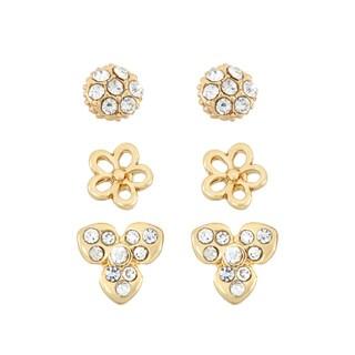Isla Simone 14k Goldplated Crystal Flower 3-piece Earring Set