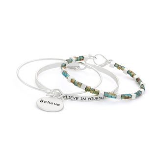 Isla Simone Multicolor Inspirational Bangle Set