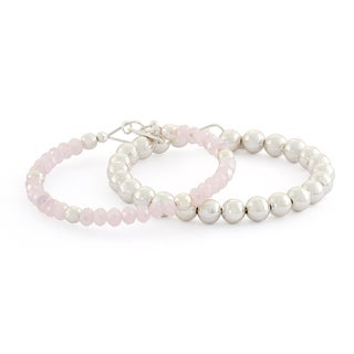 Isla Simone Rhodium-plated Pink Faceted and Polished Bead 8 mm Bracelet Set