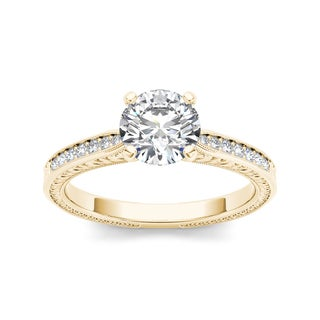 De Couer 14k Yellow Gold 1ct TDW Diamond Engagement Ring