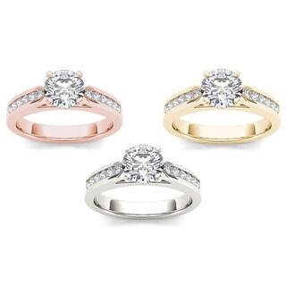 De Couer 14k Gold 1 1/4ct TDW Round Diamond Engagement Ring
