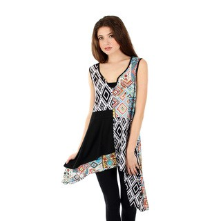Women's Sleeveless Black Multi Sidetail Tunic