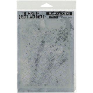 Brett Weldele Stencil Collection 6.5inX4.5inDragon Scales