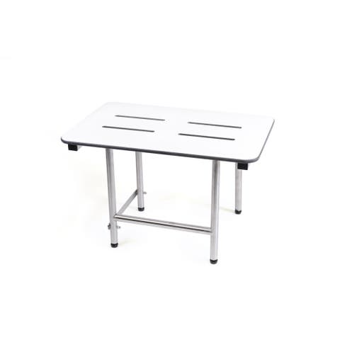 CSI Bathware 26 in W x 18 in D Rectangle White Phenolic Slotted Folding Shower Seat with Swing Down Legs