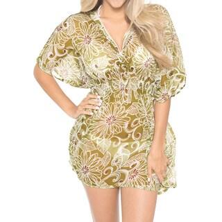 La Leela LIGHTWEIGHT CHIFFON Dress Kaftan Beach Swim Bikini Cover up Plus Tunic Green