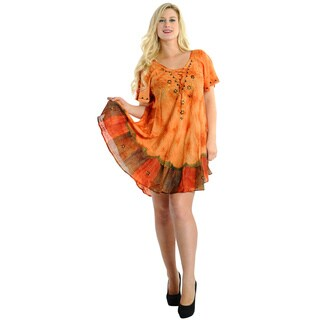 La Leela RAYON PLUS Size Dress Coverup Beach HAND Tie Dye Floral Caftan Orange