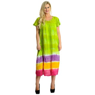 La Leela RAYON Cover up TUNIC HAND Tie Dye Long Maxi Beach Kaftan Green Women