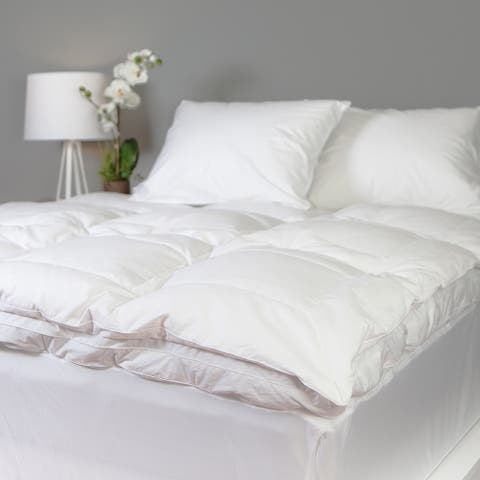 Down and Goose Feather Bed 300 Thread Count Cotton by Grandeur Collection - white