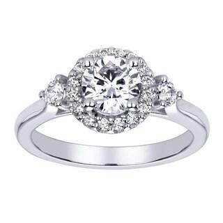 14k White Gold Cubic Zirconia and 3/8ct TDW Round Diamond Halo Engagement Ring (H-I, I1-I2)