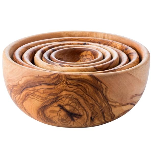Handmade Olive Wood Nesting Bowls Set of 6 (Tunisia)