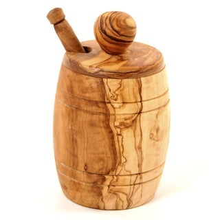 Handmade Olive Wood Honey Jar and Dipper (Tunisia)