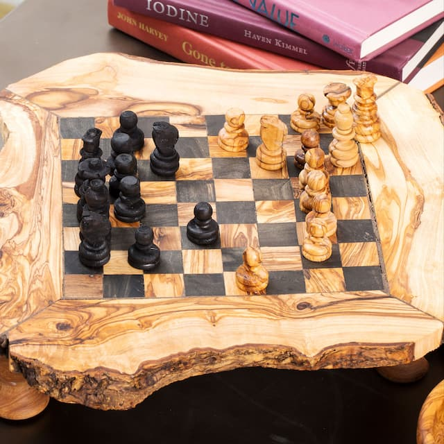 Large Olive Wood Chess Board Set