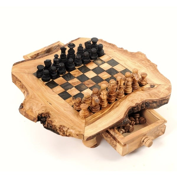 Handmade Large Olive Wood Chess Board Set (Tunisia). Opens flyout.