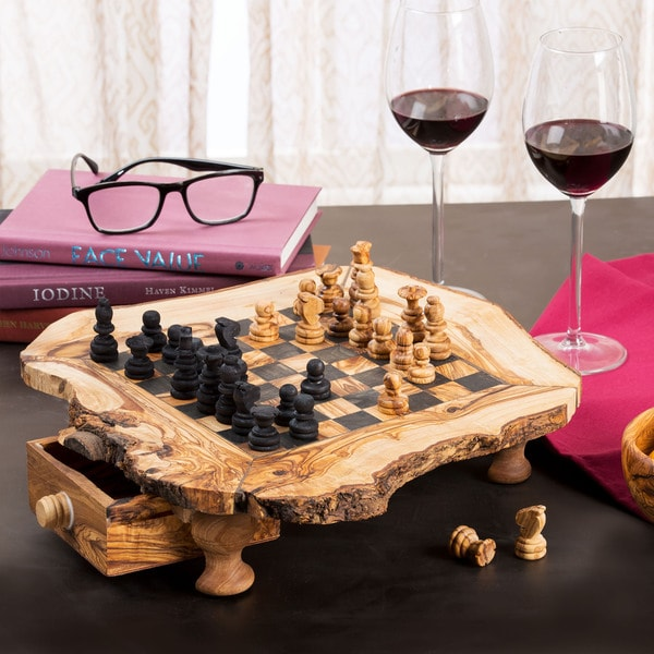 Handmade Olive Wood Chess Set (Tunisia) Small Size (11x11x3)