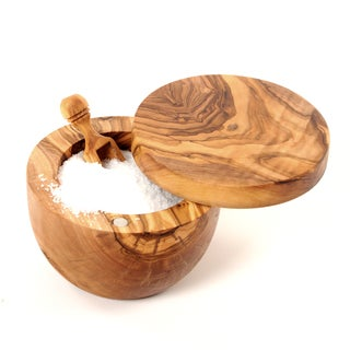 Handmade Olive Wood Salt Cellar/ Keeper and Scoop (Tunisia)
