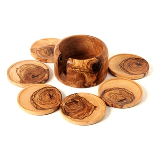 Set of 6 Hamdmade Olive Wood Coasters and Holder (Tunisia)