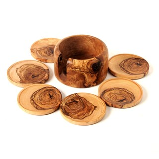 Handmade Set of 6 Hamdmade Olive Wood Coasters and Holder (Tunisia)