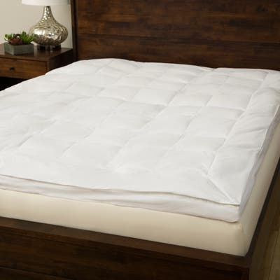 Overfilled Premium Gel Fiber Bed Topper 233 Thread Count Cotton by Grandeur Collection