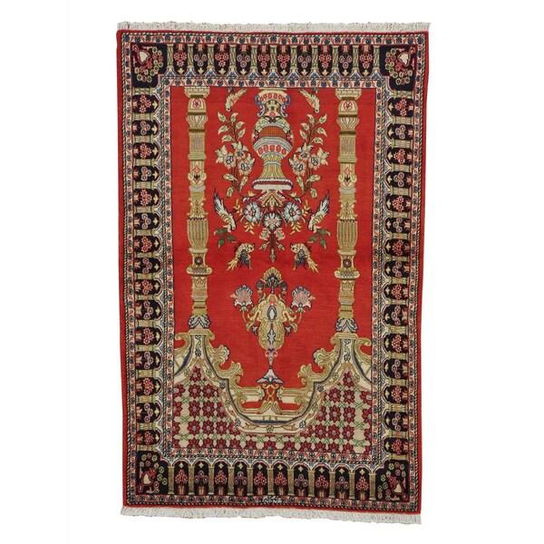 Hand-knotted Red Persian Qum Prayer Design Oriental Rug (4'2 x 6'5)