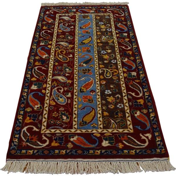 Hand-knotted Kashkuli Boteh Design Oriental Rug (2'8 x 5'5) - Multi-color