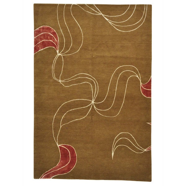 Handmade Modern Nepali Chocolate Brown Rug - 6' x 9'