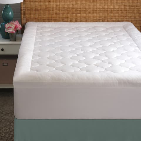 Grandeur Collection Overfilled 300 Thread Count Cotton Mattress Pad - White