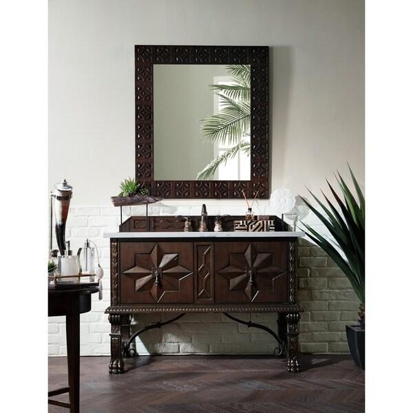 "Balmoral 48"" Single Vanity Cabinet, Antique Walnut. Opens flyout."
