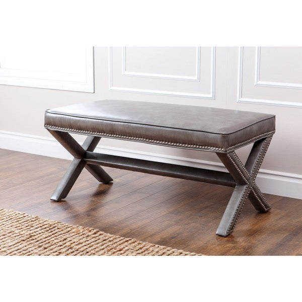 Abbyson Marcus Grey Leather Nailhead Trim Extended X Bench
