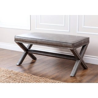 ABBYSON LIVING Marcus Grey Leather Nailhead Trim Extended X-bench