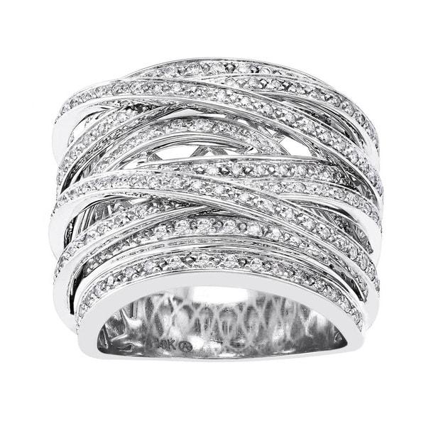 10k Gold 1ct TDW Diamond Multi-Row Crossover Ring