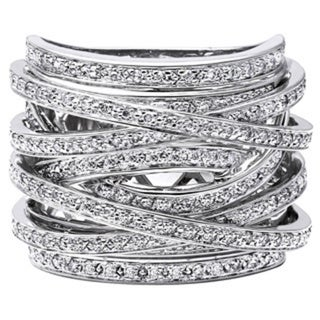 Beverly Hills Charm 10k Gold 1ct TDW Diamond Multi-row Crossover Ring (H-I, I2-I3)