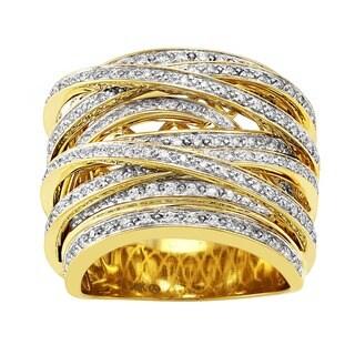 Beverly Hills Charm 10k Gold 1ct TDW Diamond Multi-row Crossover Ring