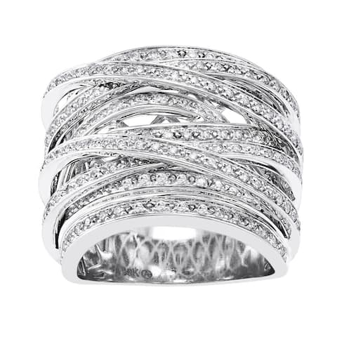 10K Gold 1ct. TDW Multi-Row Crossover Diamond Ring by Beverly Hills Charm
