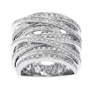 Beverly Hills Charm 10k Gold 1ct TDW Diamond Multi-row Crossover Ring (H-I, I2-I3)