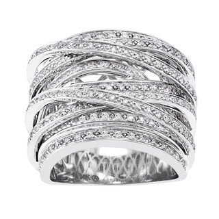 Beverly Hills Charm 10k Gold 1ct TDW Diamond Multi-row Crossover Ring