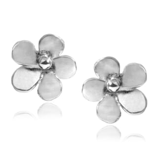 Journee Collection Sterling Silver Handmade Flower Stud Earrings