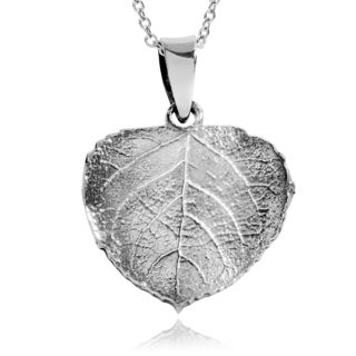 Journee Collection Sterling Silver Aspen Leaf Pendant