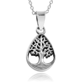 Journee Collection Sterling Silver Tree of Life Teardrop Pendant