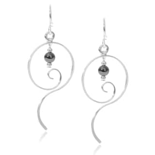 Journee Collection Sterling Silver Bead Accent Handmade Dangle Earrings