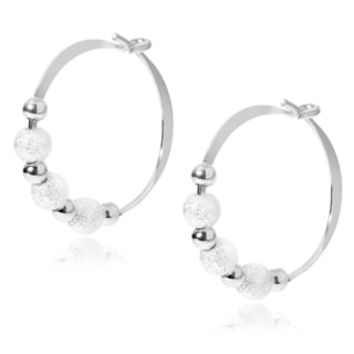 Journee Collection Sterling Silver Bead Handmade Hoop Earrings