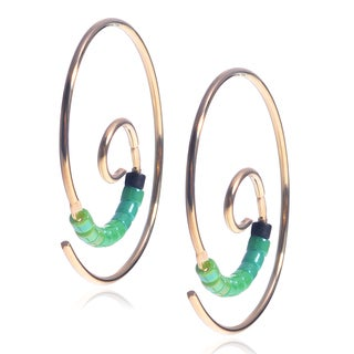Journee Collection Sterling Silver Handmade Heishi Bead Koru Spiral Earrings