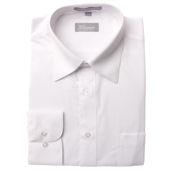 Giovanni Men's White Convertible Cuff Dress Shirt