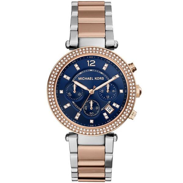 Michael Kors Women's MK6141 Parker Two-tone Rose Accent Blue Dial Watch
