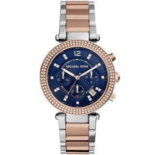 Michael Kors Women's MK6141 Parker Two-tone Rose Accent Blue Dial Watch