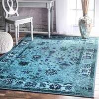 nuLOOM Traditional Vintage Inspired Overdyed Floral Turquoise Rug (8' x 10') - 8' x 10'