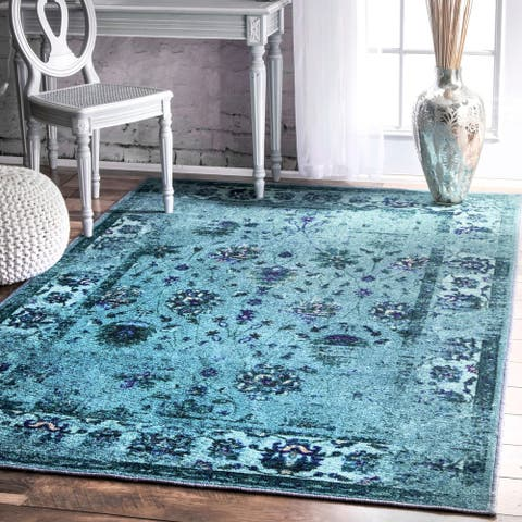 nuLOOM Turquoise Traditional Vintage Inspired Overdyed Floral Area Rug
