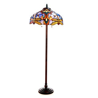 Chloe Tiffany Style Victorian/ Dragonfly Design 2-light Bronze Floor Lamp
