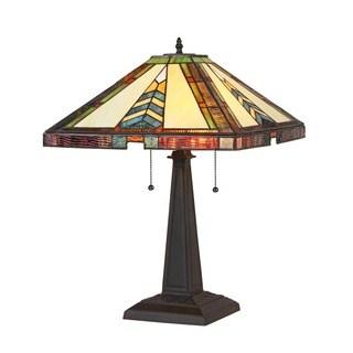 Chloe Lighting Tiffany Style Mission Design 2-light Bronze Table Lamp