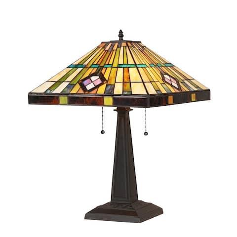 Tiffany Style Mission Design 2-light Bronze Table Lamp